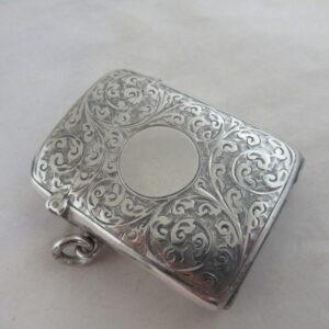 Solid Silver RARE VICTORIAN VESTA CASE – SIRUS PATENT Halmarked:- Birmingham 1899 Silver Vesta Case Antique Silver