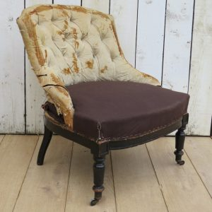 Antique French Button Back Chair For Re-upholstery armchair Antique Chairs