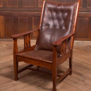 Arts & Crafts Oak Leather Chair SAI2362 Antique Chairs