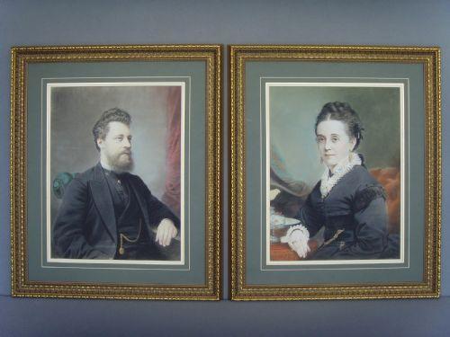 Pair 19c Pastel & Gouache Portrait Paintings Of Man & Wife