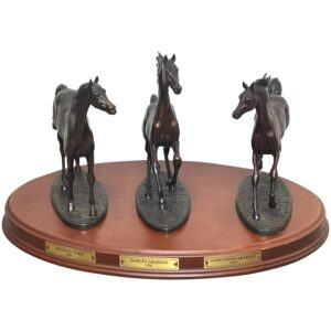 """Set 3 Small Solid Bronze Horse Racing """"The Origins Of Champions"""" By Gill Parker bronze Antique Art"""