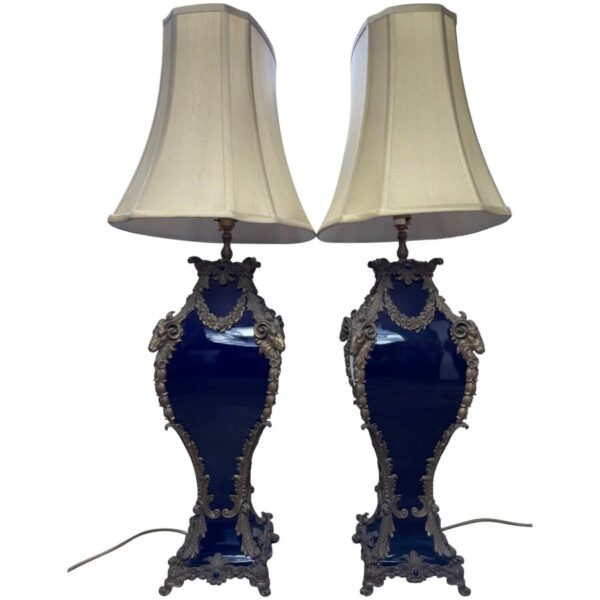 Pair French Large Rams Heavy Bronze Blue Ceramic Table Lamps a pair Antique Lighting 2