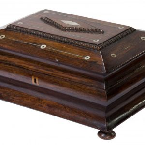 A Victorian rosewood jewellery /sewing box Antique Boxes