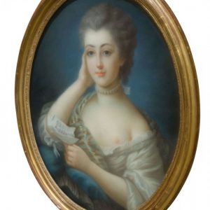 An oval portrait of a young lady Antique Art