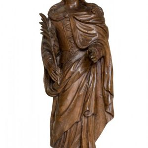 Carved limewood figure of St Catherine of Alexandria 17thc Antique Sculptures