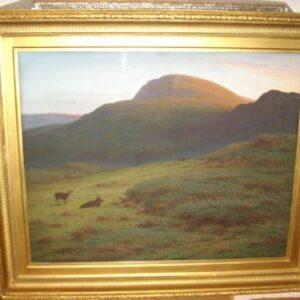 Pastel & Gouache Landscape Painting Deer Exmoor Dartmouth By Artist J.Knight 62 X 52 Inches Pastel & Gouache Antique Art