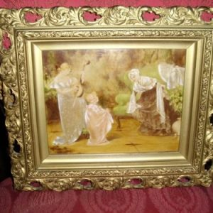 19th Century Victorian Genre Oil Painting Of Mother Plating A Mandolin To Her Daughter & Friends Being Presented In The Original Wooden Plaster & Gilt Pierced Frame 13.25 X 15.5 Inches Antique Art