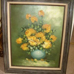 Still Life Flower Oil Painting On Canvas Antique Art