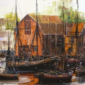 Large Quality Original Oil Painting On Canvas Of Harbour With Vessels Moored By Artist Kevin Platt Framed Size 47 X 25 Inches Antique Art