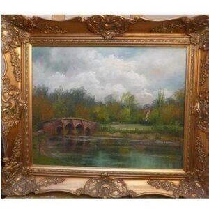 River Landscape Oil Painting With Stone Bridge & Presented In Original Decorative Swept Frame 26 X 22 Ins Antique Art