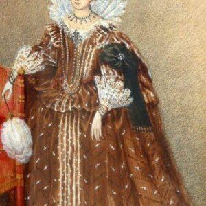 Watercolour Of Tudor Queen Elizabeth 1st. a Fine Portrait Painting In Museum Mount Antique Art Antique Art