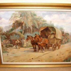 Oil Painting Depicting Horses Being Watered With Signed Initials W.H 1928 51 X 40 Inches Circa 1928 Antique Art Antique Art