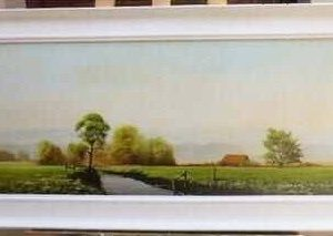 Landscape Oil Painting Of Sussex Countryside By Listed Artist Michael Morris 42 X 19 Inches Antique Art Antique Art