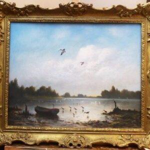 Pastel Titled The Blue Lagoon Ibis Birds In Flight River Landscape Paintings Gilt Frames pastel painting Antique Art