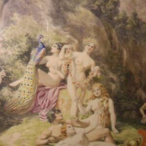 Large Watercolour Antique Art Portrait Painting Of Neo-classical Naked Nymph Figures Greek Mythology Genre Scene Antique Art Antique Art