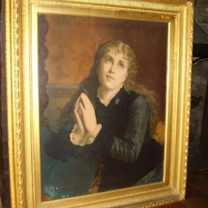 Victorian Religious Oileograph Portrait Of Angelic Young Lady After Original Oil Painting Antique Art Antique Art