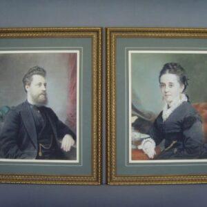 Pair 19c Pastel & Gouache Portrait Paintings Of Man & Wife Antique Art Antique Art