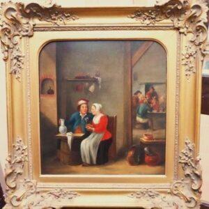 18thc Tavern Interior After Teniers Dutch Genre Oil Portrait Paintings Antique Art Antique Art