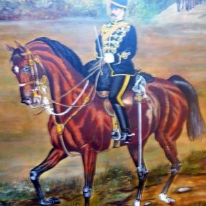Military Oil Painting Officer On Horseback Kings 8th Royal Irish Hussars Regiment & Company Dated 1897 Antique Art Antique Art