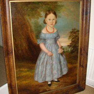 18thc Large Georgian Oil Portrait Painting Of Young Girl English School Antique Art Antique Art