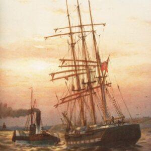 Watercolour Painting Schooner Under Tow Tynemouth Harbour C1909 William Thomas Nichols Boyce Antique Art Antique Art