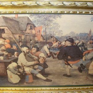 Oileograph Print On Canvas Of Dutch Tavern Scene Depicting A 17th Century Genre Scene In Heavy Carved Wooden Gilt Frame Antique Art