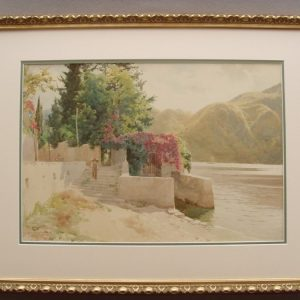 Watercolour By Robert George Talbot Kelly Of Italian Lake Landscape Painting Signed & Dated C1909 Antique Art