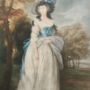 Portrait Engraving Of Lady After John Hoppner. Antqiue Art Antique Art