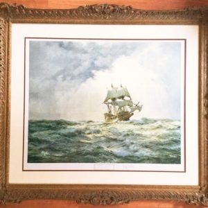 Montague Dawson Signed Lithograph Of The Mayflower 1/300 Proof Blind Stamped After Original Watercolour Marine Painting Antique Art Antique Art