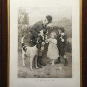 The Huntsmans Pet By Arthur J Elsley C1908 Original Antique Print After Original Painting Edwardian Antique Art
