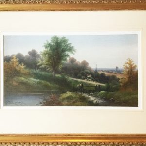 Fine Antique Art English Countryside Landscape Acrylic Oil Painting On Board Under Glass Countryside Pictures In Gilt Frames Antique Art Antique Art