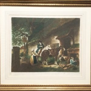 George Morland The Public House Door Mezzotint Engraved By W.Ward Printed In Colours Antique Art Antique Art