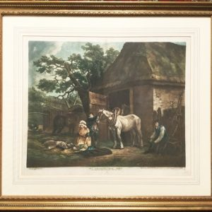 George Morland Coloured Mezzotint Feeding The Pigs Engraved By I.R.Smith Antique Art Antique Art