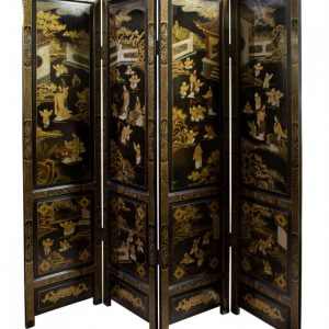 Mid 20thcentury Black lacquer and gilt screen Antique Furniture