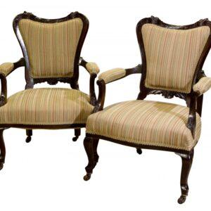 Pair 19thCentury mahogany open armchairs c1890 Antique Chairs
