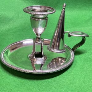 George III Silver Chamber Stick and Snuffer Hallmarked London 1803 John Emes Antique Silver