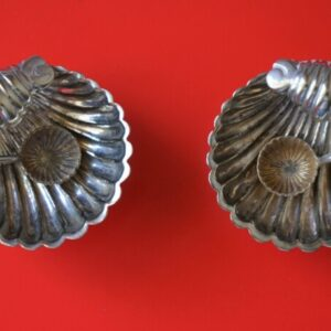 A Pair of antique Miniature Silver Plated Clam Shell Salt Servers & Spoons Antique Salts Antique Silver