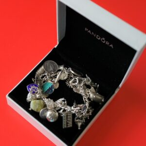 SALE – A Vintage 1963 Heavy Silver Charm Bracelet With 38 Silver Charms – Ideal Birthday Present / Boxed A.J. Bailey Antique Jewellery