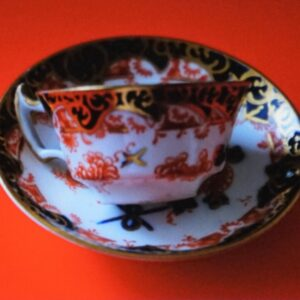 Circa:- 1890s ROYAL CROWN DERBY Miniature Imari Coffee Can & Saucer – Porcelain / Bone China Antique Royal Crown Derby Antique Art