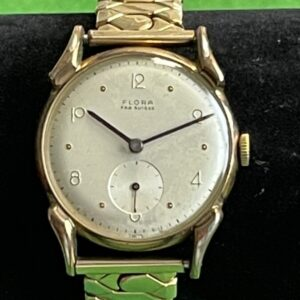 Antique Flora Gold Plated Gents Wrist Watch With Rolled Gold Strap Antique Watches