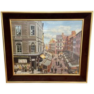 """Figurative Oil Painting Market Place """"The Street Traders"""" By Patrick Burke Antique Art"""
