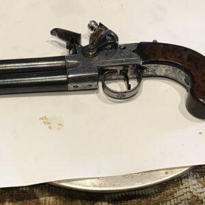 Flintlock double over & under pistol by Spencer of London Antique Guns, Swords & Knives