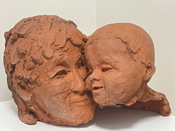 Scottish Mother With Baby Bust Terracotta Signed Sculpture After Archibald Knox baby Antique Sculptures 2