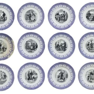A numbered set (1-12) of french late 19th century pottery plates Antique Ceramics