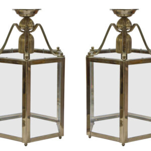 A pair of brass lanterns in the Georgian style Antique Lighting