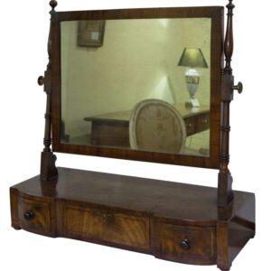 A Regency period mahogany dressing table mirror with 3 drawers to the base with brass string inlay circa 1820 Antique Dressers