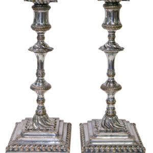 A superb pair of square based candlesticks Antique Collectibles