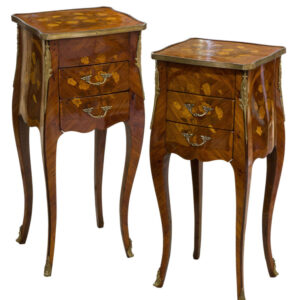 Fine Pair of French Tulipwood and Floral Marquetry Tables Antique Tables