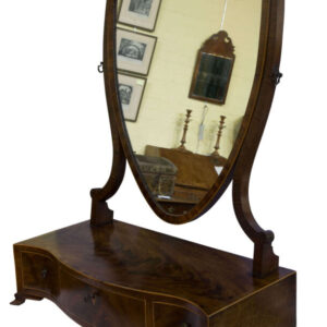 George III Serpentine Figured Mahogany Box Base Mirror Antique Dressers