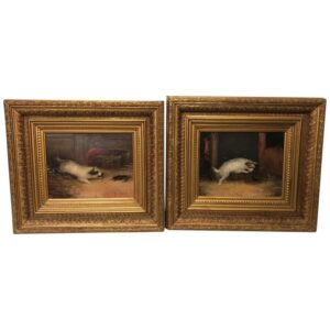 Pair 19th Century Sporting Oil Paintings Terrier Dogs Ratting Signed J Langlois Antique Art Antique Art